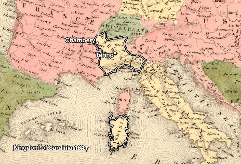map of Kingdom of Sardinia